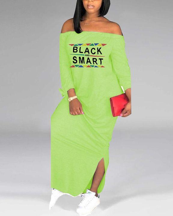 Letter Print Off Shoulder Split Hem Maxi Dress gallery 10