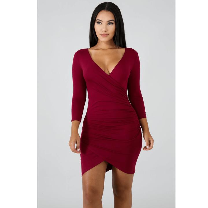 Deep V-Neck Wrap Ruched Irregular Hem Mini Dress gallery 2
