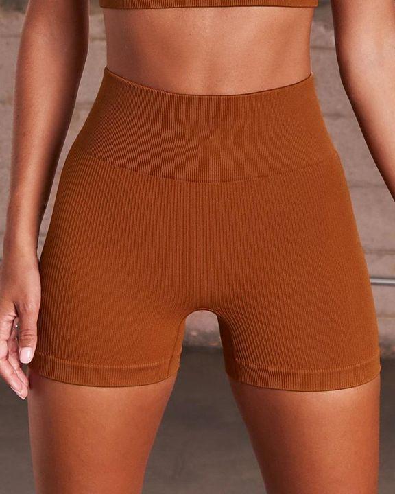 Rib-knit High Waist Butt Lifting Seamless Sports Shorts  gallery 4