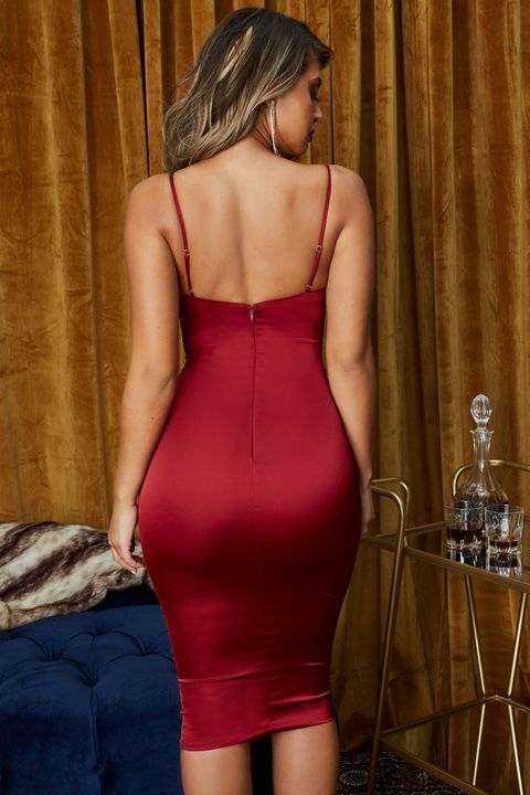 Satin Cut Out Front Cup Detail Midi Dress gallery 6