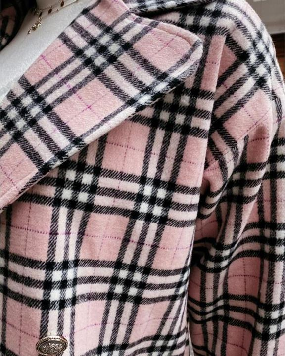 Plaid Print Double Breasted Coat gallery 7