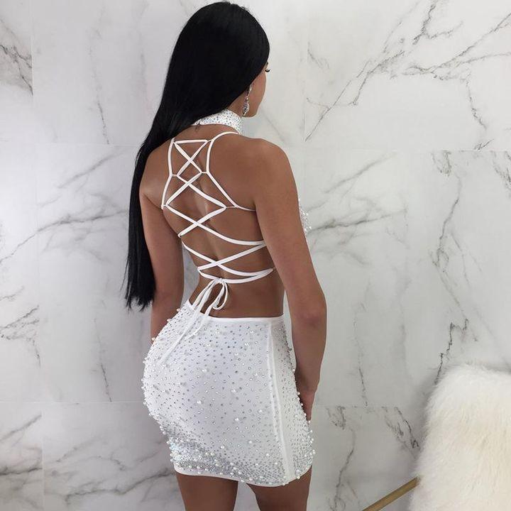 Sexy Glitter Bead Detail Strappy Back Choker Skirt Set gallery 3