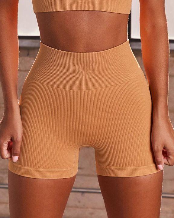 Rib-knit High Waist Butt Lifting Seamless Sports Shorts  gallery 1
