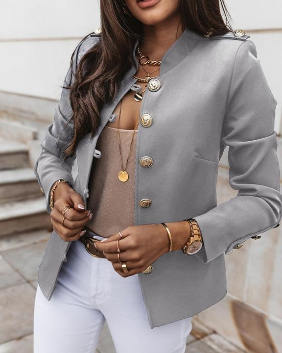 Button Up Front Pocket Detail Tailored Jacket gallery 16