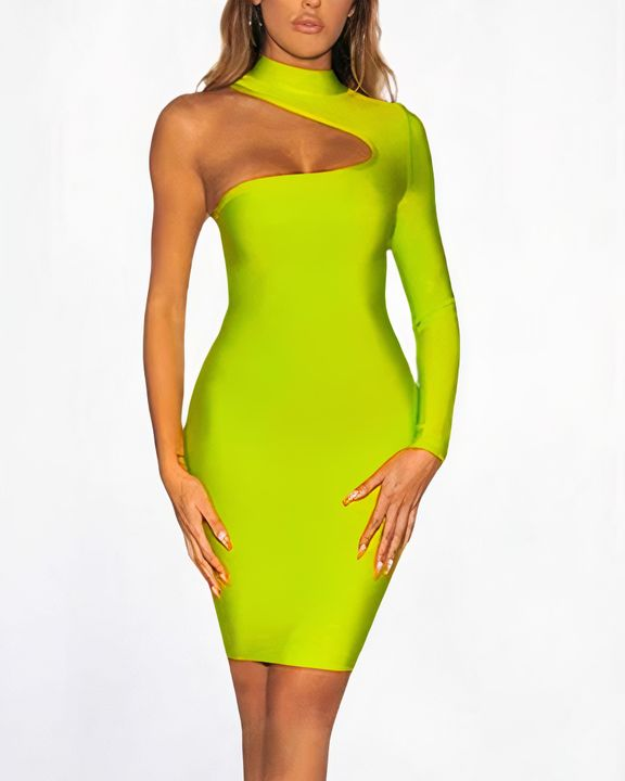 Bandage One Shoulder Cut Out Midi Dress gallery 1