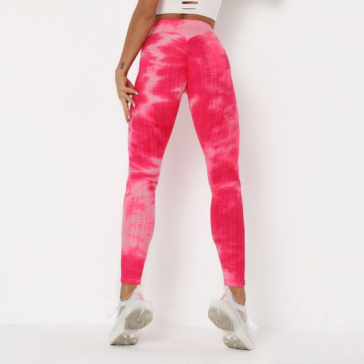 Strawberry Soda Tie Dye Textured Butt Lifting Ruched Leggings gallery 10