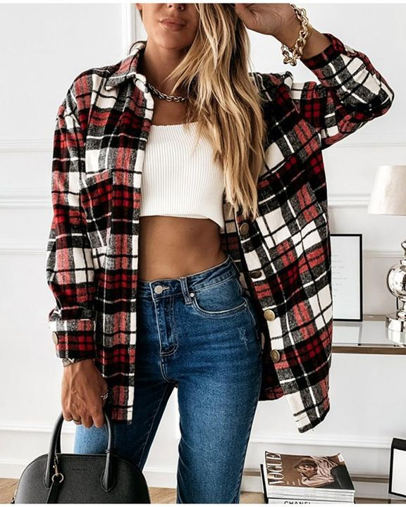 Plaid Print Dual Pocket Button Front Collar Coat gallery 4