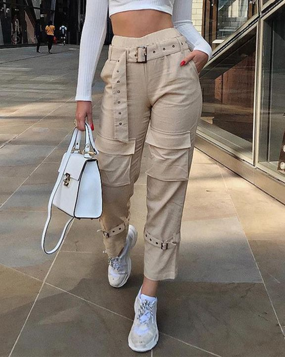 High Waist Belted Pocket Detail Pants gallery 1