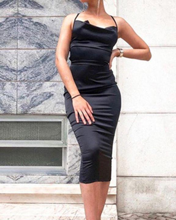 Satin Plunge Neck Tie Back Midi Dress gallery 3