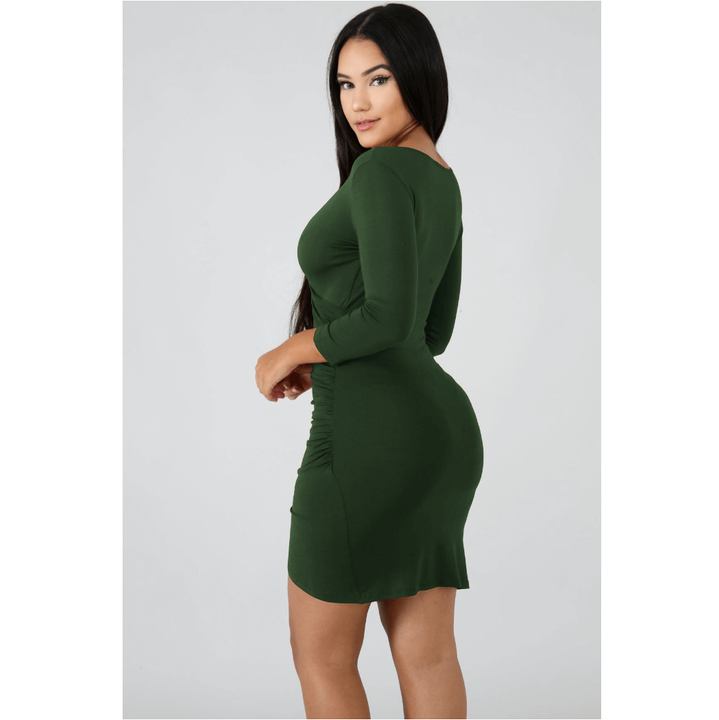Deep V-Neck Wrap Ruched Irregular Hem Mini Dress gallery 12