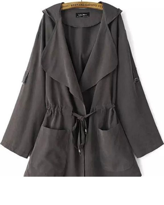 Solid Drawstring Waist Dual Pocket Front Hooded Coat gallery 10