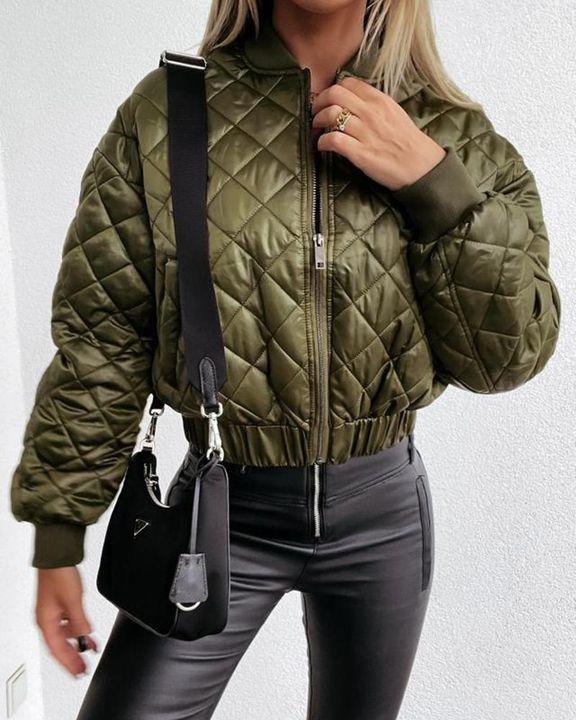 Baseball Collar Zip Front Slant Pocket Jacket gallery 6