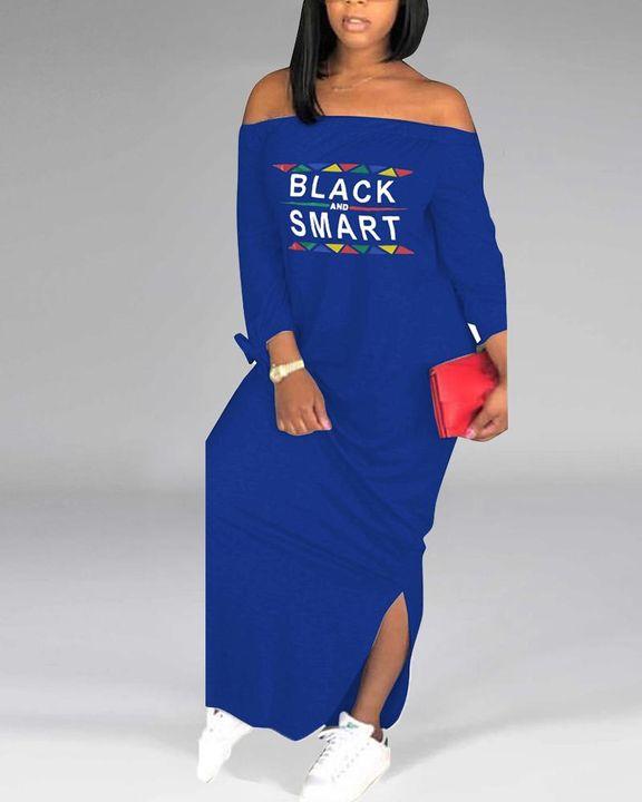 Letter Print Off Shoulder Split Hem Maxi Dress gallery 3