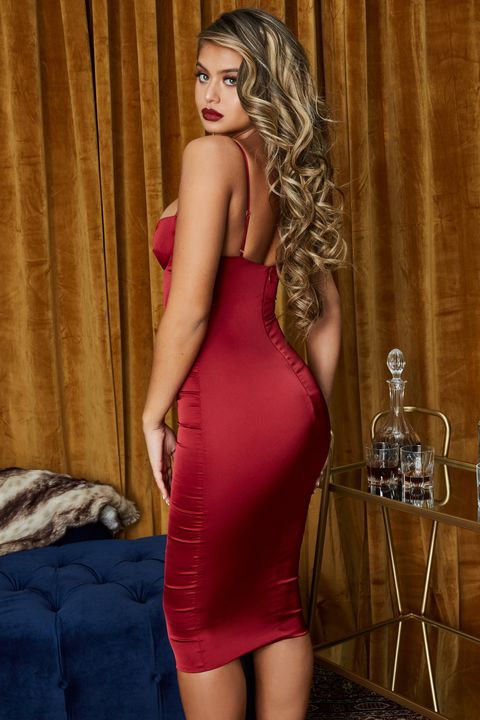 Satin Cut Out Front Cup Detail Midi Dress gallery 5