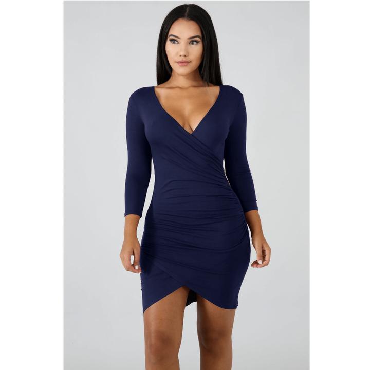 Deep V-Neck Wrap Ruched Irregular Hem Mini Dress gallery 6