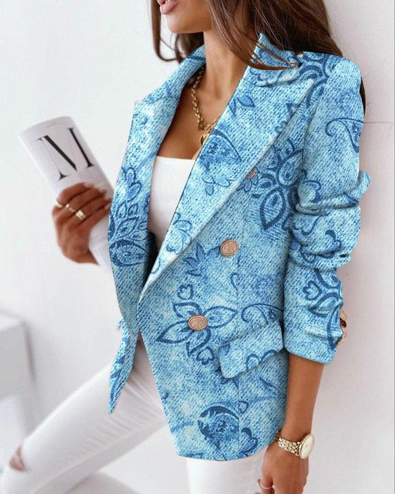 Allover Print Double Breasted Lapel Neck Blazer gallery 2
