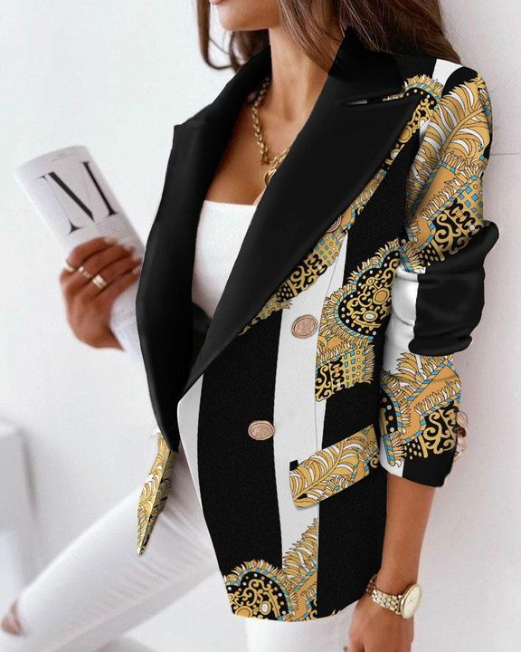 Allover Print Double Breasted Blazer gallery 1