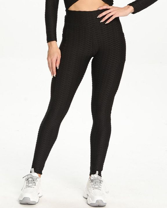 Dual Pocket Side Textured Ruched Wide Waistband Sports Leggings gallery 5