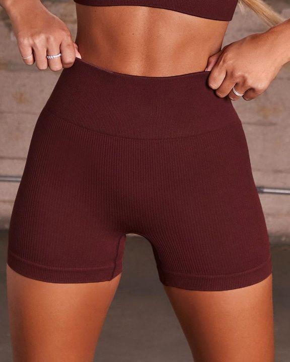 Rib-knit High Waist Butt Lifting Seamless Sports Shorts  gallery 5