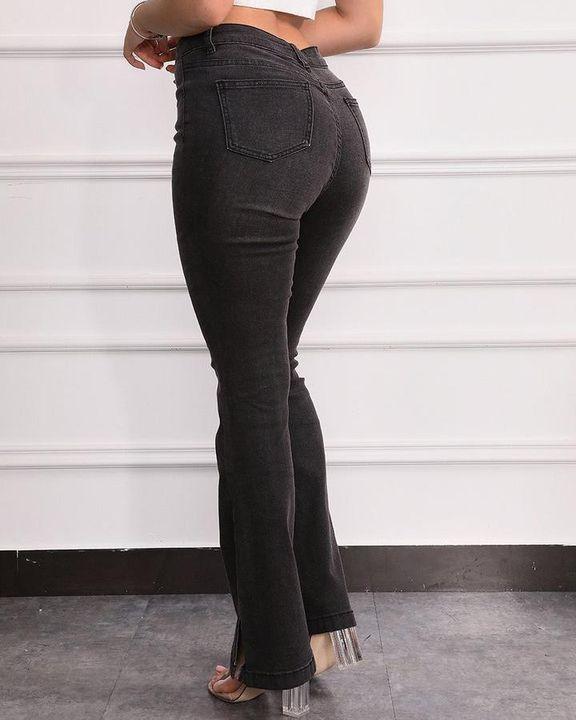 Split Hem High Waist Skinny Flare Jeans gallery 9