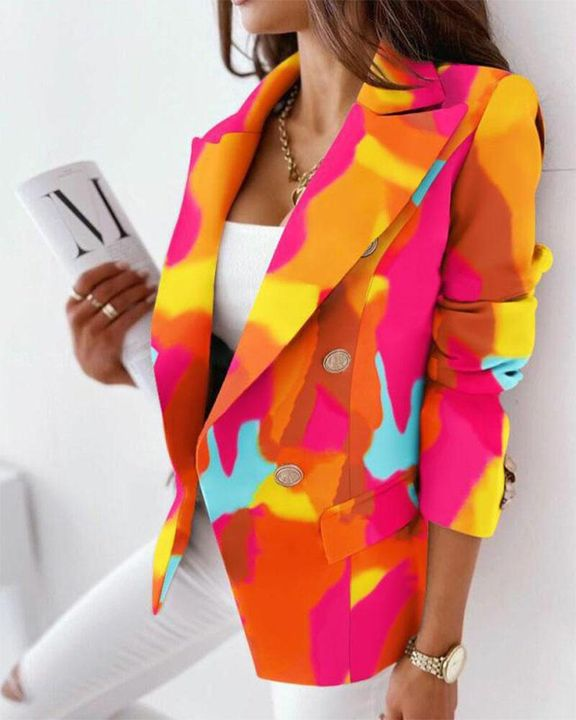 Allover Print Double Breasted Blazer gallery 3