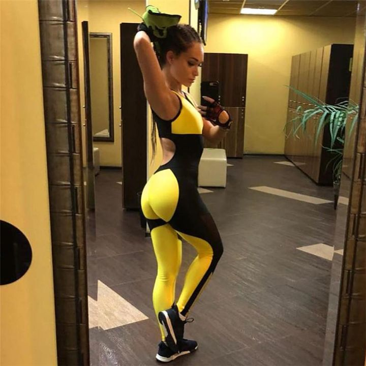 Color Block Mesh Patchwork Fitness Jumpsuit gallery 4