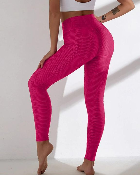 Solid Textured Wide Waistband Sports Leggings gallery 3