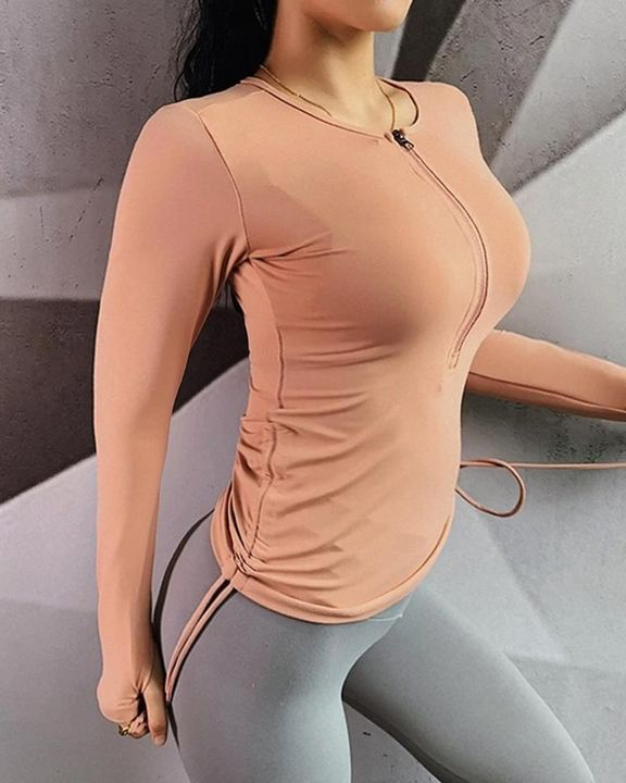 Half Zip Drawstring Side Sports Tee With Thumb Holes gallery 5