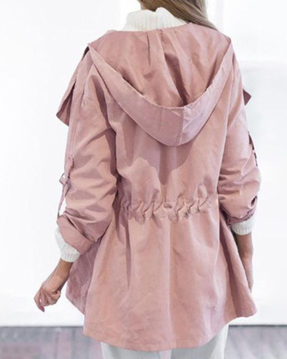 Solid Drawstring Waist Dual Pocket Front Hooded Coat gallery 6