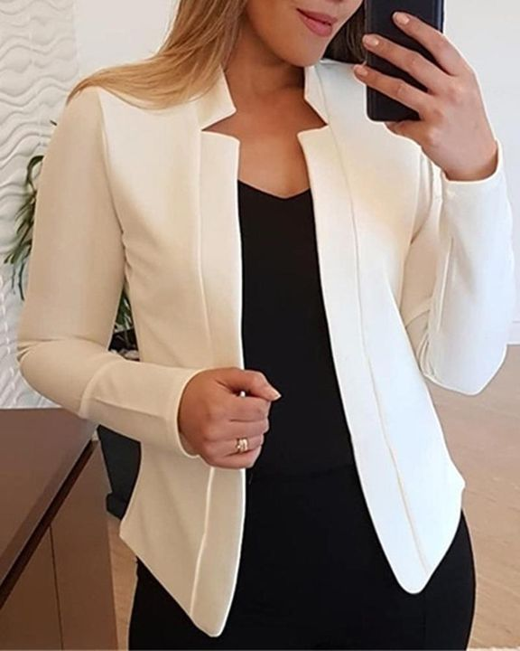 Solid Open Front Form Fitting Blazer gallery 5
