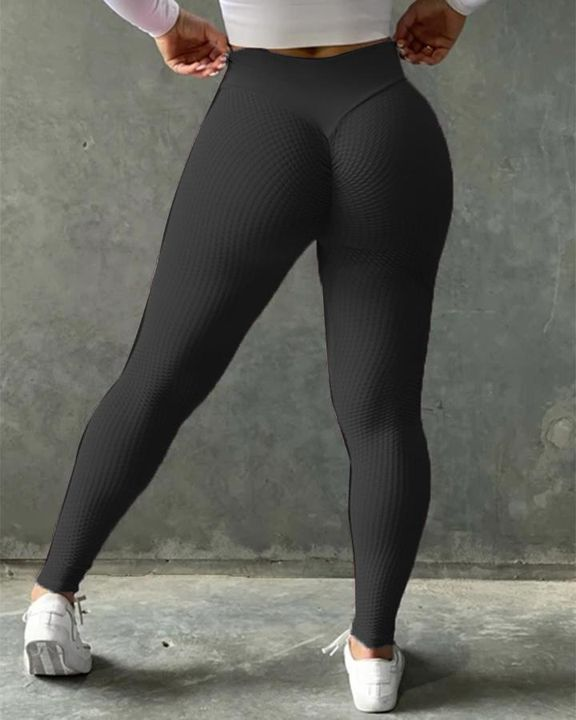 Solid Textured Butt Lifting Sports Leggings gallery 2