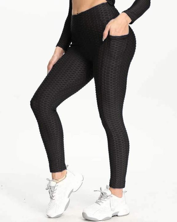 Dual Pocket Side Textured Ruched Wide Waistband Sports Leggings gallery 1