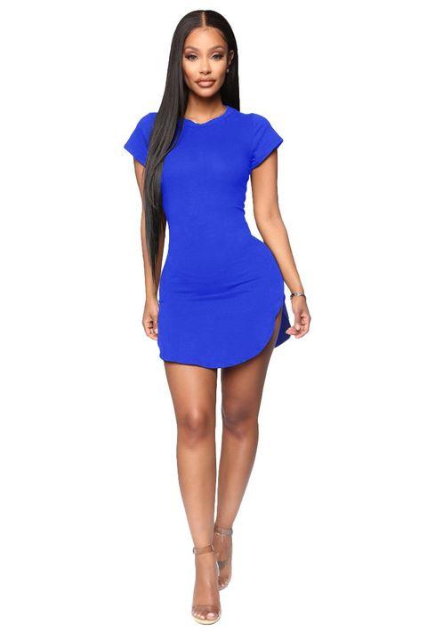 Solid Scoop Neck Side Slit Mini Dress gallery 15