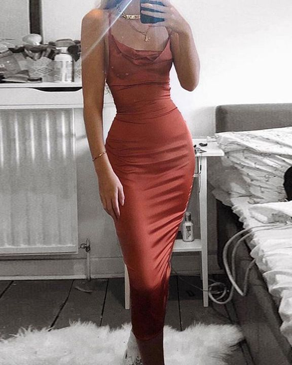 Satin Plunge Neck Tie Back Midi Dress gallery 7