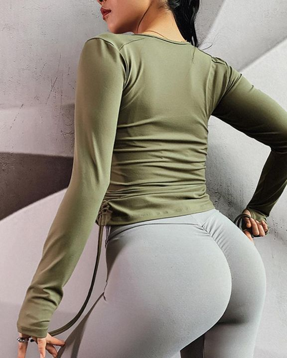 Half Zip Drawstring Side Sports Tee With Thumb Holes gallery 8