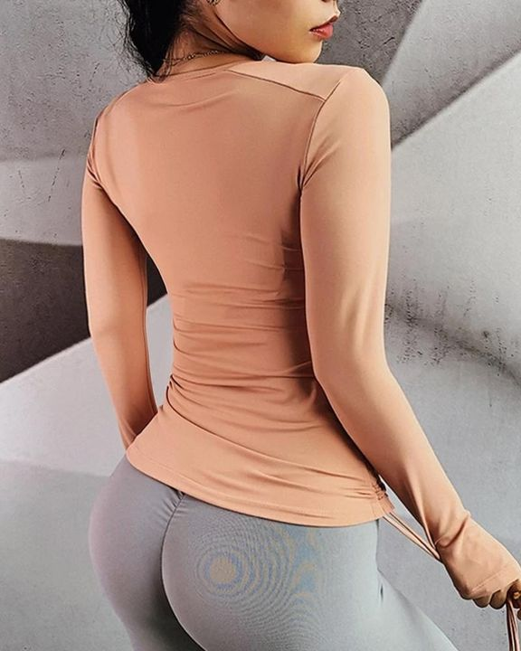 Half Zip Drawstring Side Sports Tee With Thumb Holes gallery 11