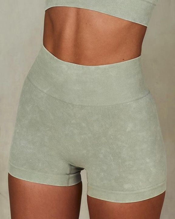 Solid Ribbed Knit High Waist Butt Lifting Sports Shorts  gallery 2