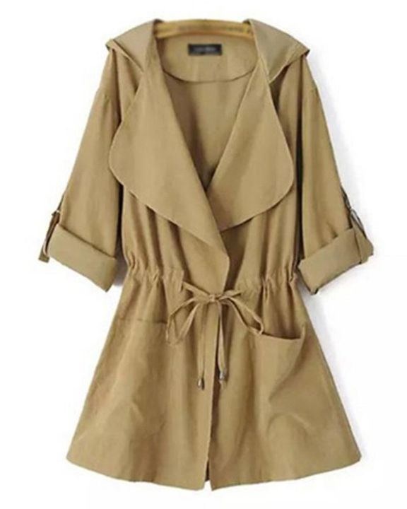 Solid Drawstring Waist Dual Pocket Front Hooded Coat gallery 8