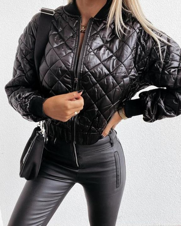 Baseball Collar Zip Front Slant Pocket Jacket gallery 2