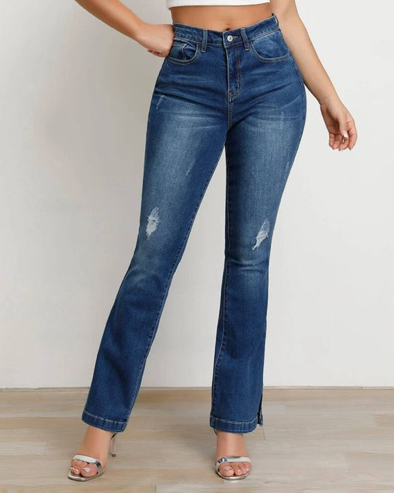 Split Hem High Waist Skinny Flare Jeans gallery 2
