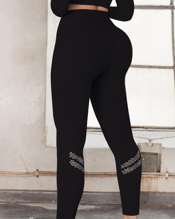 Hollow Out Ribbed Seamless Wide Waistband Sports Leggings gallery 2