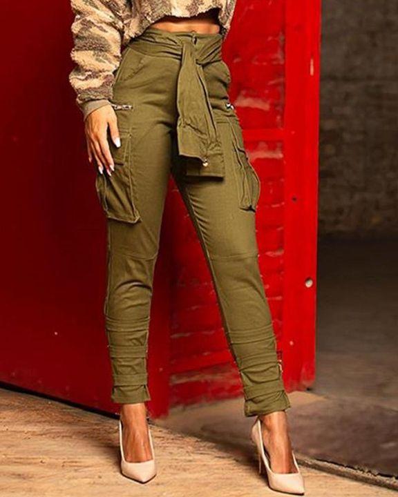 Self-Belted Flap Pocket Zipper Detail Pants gallery 1