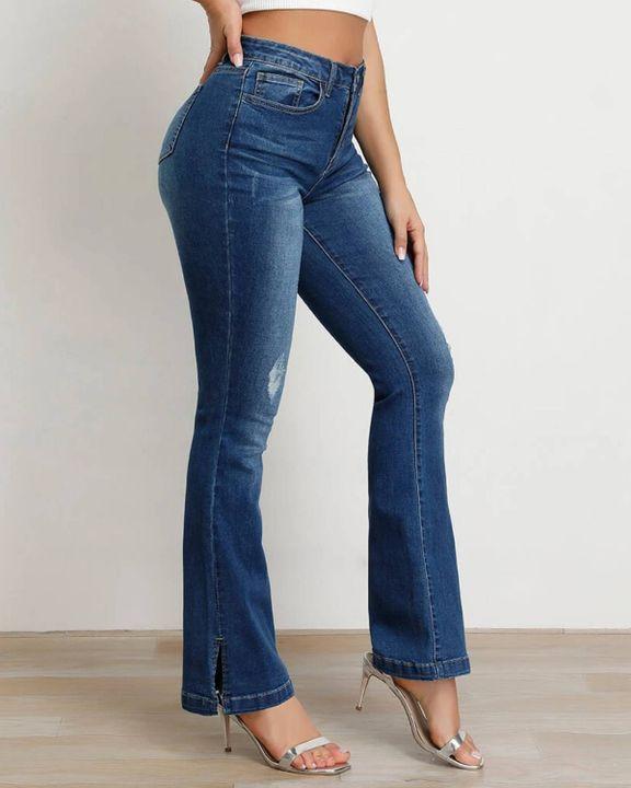 Split Hem High Waist Skinny Flare Jeans gallery 11