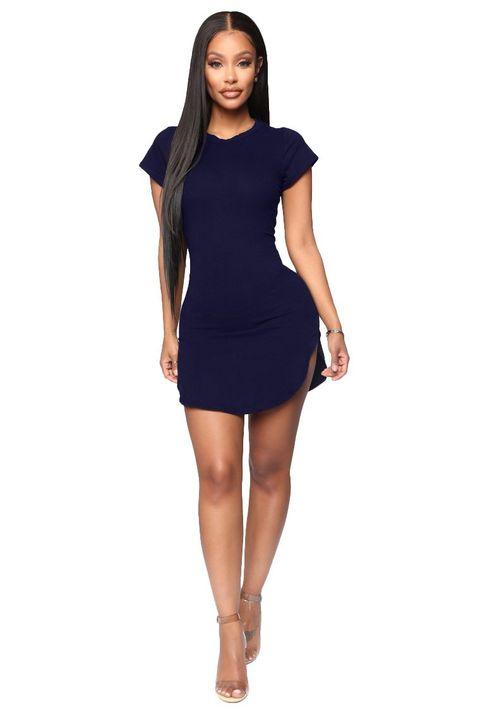 Solid Scoop Neck Side Slit Mini Dress gallery 13