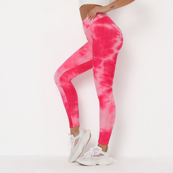Strawberry Soda Tie Dye Textured Butt Lifting Ruched Leggings gallery 7