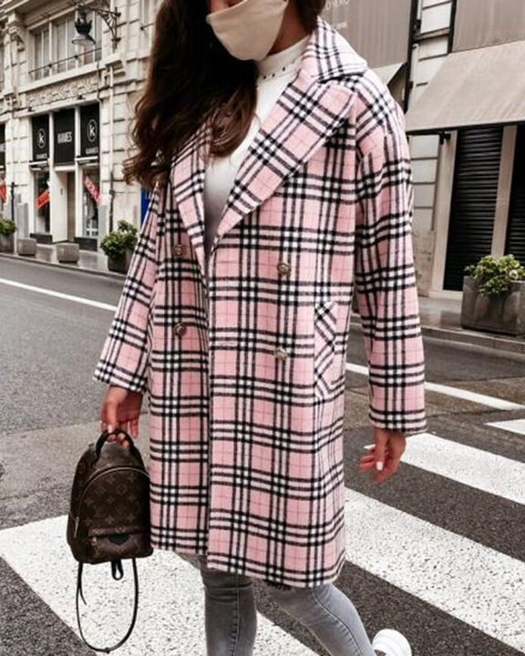 Plaid Print Double Breasted Coat gallery 6