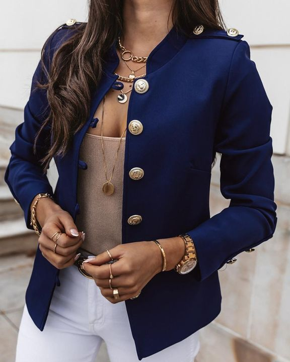 Button Up Front Pocket Detail Tailored Jacket gallery 10