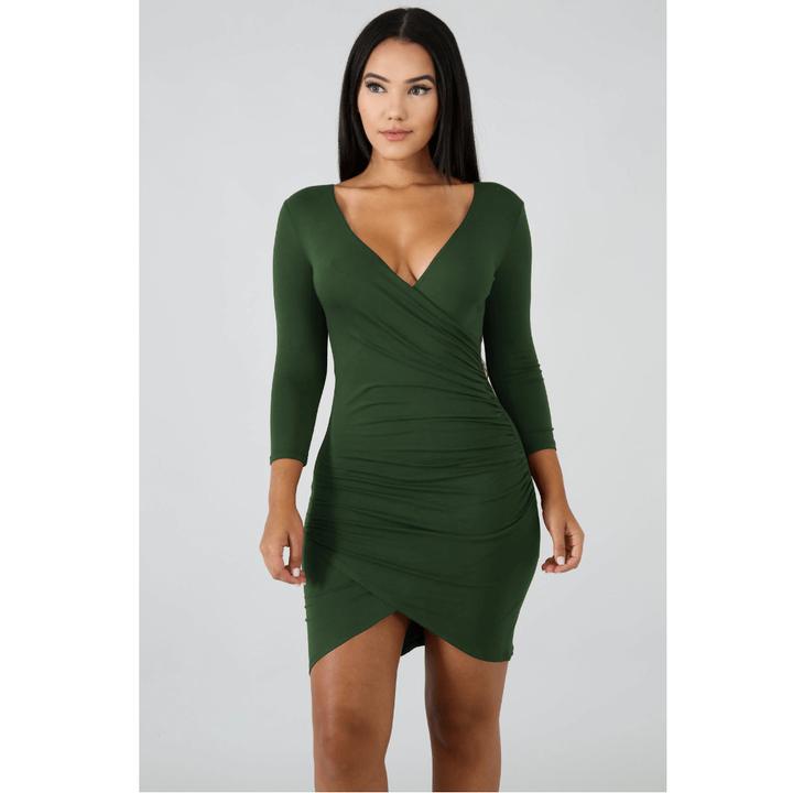Deep V-Neck Wrap Ruched Irregular Hem Mini Dress gallery 4