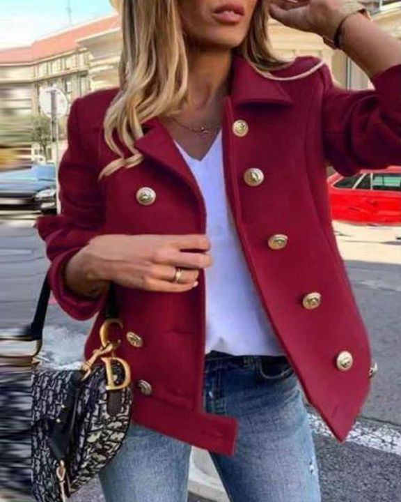 Solid Double Breasted Lapel Neck Jacket gallery 1