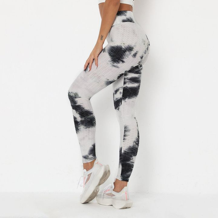 Smoke Tie Dye Textured Butt Lifting Ruched Leggings gallery 10